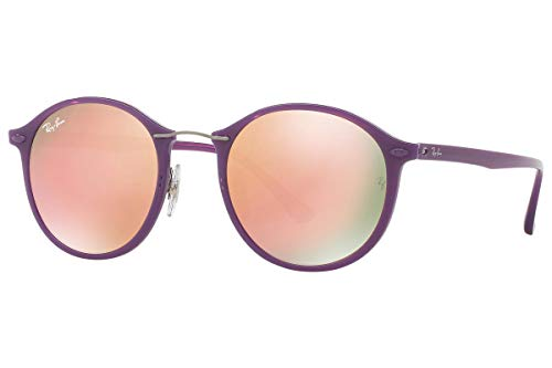 Shiny Violet - Ray-Ban Women's Mirrored Round Sunglasses, Shiny Violet/Brown Pink, One Size