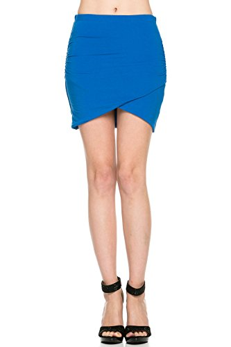 - LaClef Women's Slim Fit Layered Knit Draped Tulip Ruched Mini Skirt (Medium, Aqua Blue)