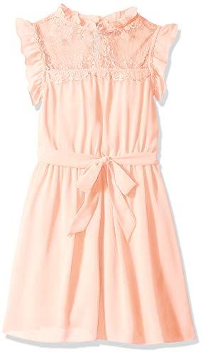 Amy Byer Girls' Big Sweet Blouson Dress with Ruffle Trim Yoke, Garden Rose -