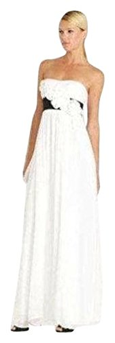 BCBG MAX AZRIA White Black Silk Rosette Gown size 12