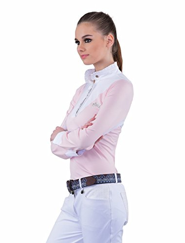 Equine Couture Ladies Chelsea Long Sleeve Show Shirt | Color - PetalPink/White, Size - - Ladies Show Shirt