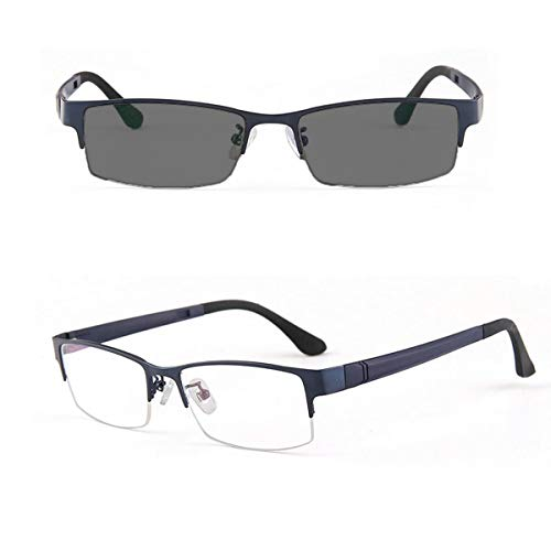 MINCL/Photocromic Lens Transition Sunglasses Business Frames Reading Glasses (blue-photochromatic, ()