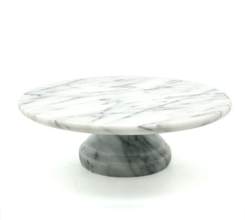 "Creative Home Marble Cake Plate on Pedestal, 10"" x 10"", White"