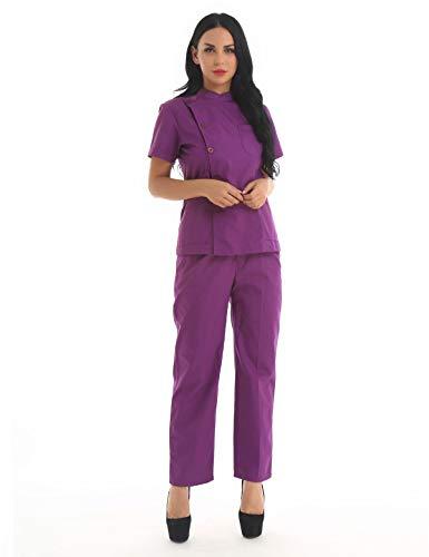 iEFiEL 2Pcs Women Scrub Set Medical Uniform Scrub Collar Short Sleeve Top and Cargo Long Pants Purple Large ()