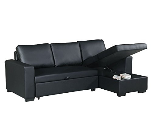 Advanced Modern Black Faux Leather Convertible Sectional Sofa Set with Pull-Out Bed by Advanced Furniture