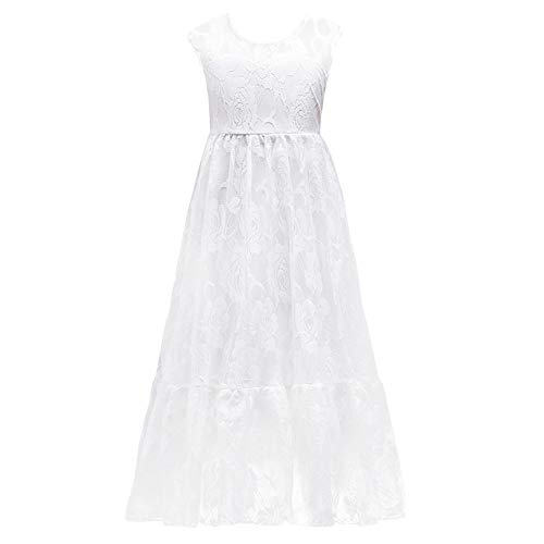 White Ivory Lace Flower Girl Dress Sleeveless Vintage Boho Long Sleeves Princess Rustic First Communion Country Dress A-line Tulle Tutu Birthday Party Wedding Pageant Maxi Gowns White 5-6 Years -