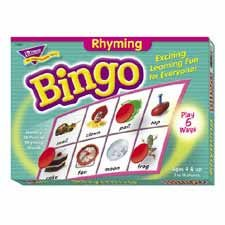 Trend Enterprises : Rhyming Bingo Game,Includes 36 Playing Cards/Over200 Chips -:- Sold as 2 Packs of - 1 - / - Total of 2 Each