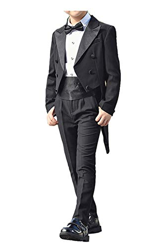 Boys Tail Tuxedo Suits with Tail Full Set Tailcoat Shirt Pants with Cummerbund Bow Tie (Black, 10) ()