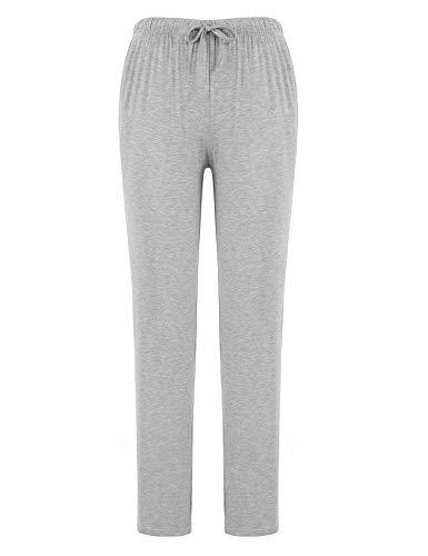 FISOUL Women's Casual Pajama Pants Cotton Comfy Soft Stretch Solid Drawstring Sleep PJ Bottoms Lounge Pants(Light Grey,Small)