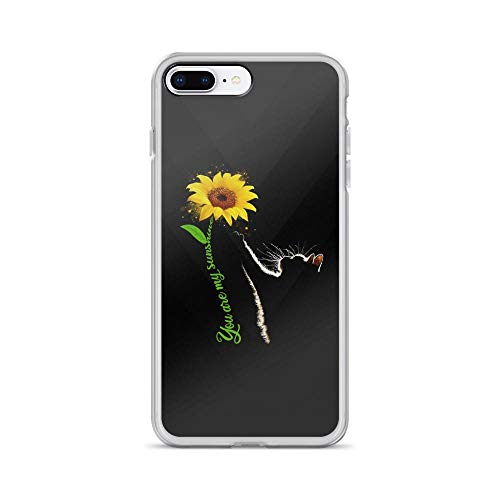 (iPhone 7 Plus/8 Plus Pure Clear Case Cases Cover You are My Sunshine - Sunflower Cute Cat Lover TPU Flexible Compatible Protective Cover )