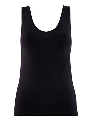 BlackSpade Silver Black Modal V-Neck Singlet Vest Top 1623