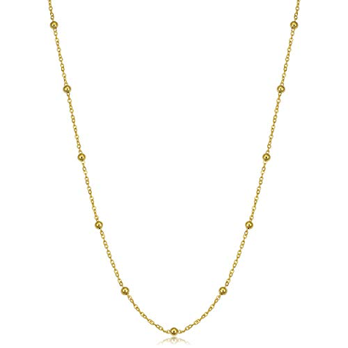 (14k Yellow Gold Round Beads Station Necklace (18 inch))