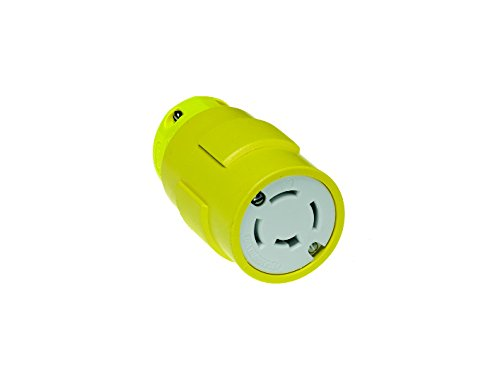 Woodhead 2709 Super-Safeway Connector, Industrial Duty, Locking Blade, 4 Poles, 4 Wires, Rubber, Yellow, 20A Current, 208V Voltage by Woodhead