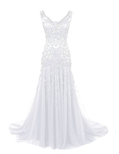 H.S.D Womens Mermaid V Neck Beaded Long Prom Dress Evening Gowns ()