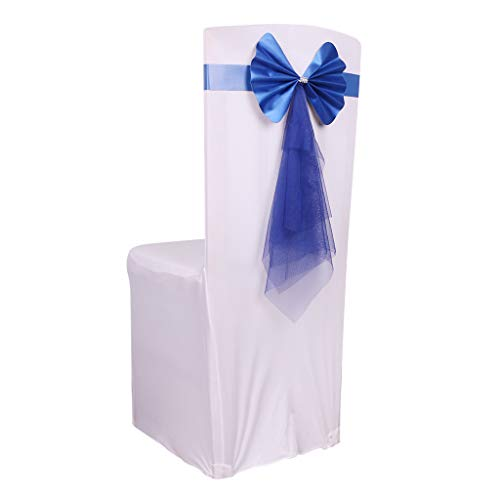 (Fvstar 10 Pack Blue Wedding Chair Ribbon Bows Elastic Chair Sashes Party Chairs Back Tie Bands for Bridal and Events Supplies Baby Shower Party Banquet Without White Covers - Time Saving Style)