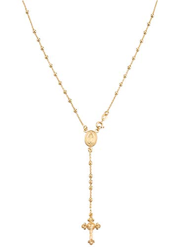 MiaBella 18K Gold Over Sterling Silver Italian Rosary Bead Cross Y Necklace Chain for Women Men, 20 Inch
