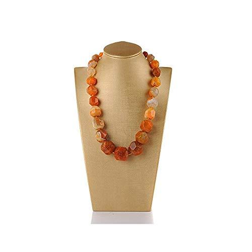 Rui Long Women Natural Agate Jewelry Stone Beads Semi-Precious Stone Tower Chain Necklace (Orange)