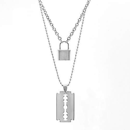 Beauty-OU Stainless Steel Double Layer Padlock Necklace Lock Blade Cross Star Guitar Map Pendant Chain Necklaces Fashion Women Jewelry