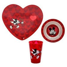 DISNEY HEART MICKEY MOUSE 3 PIECE DINNERWARE SET VALENTINES CUPID