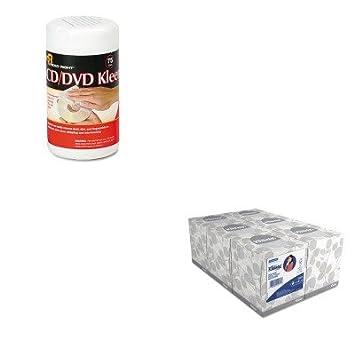 kitkim21271rearr1420 - Value Kit - leer derecho CD/DVD Kleen Limpiador toallitas húmedas (rearr1420) y Kimberly Clark KLEENEX tejido Facial (kim21271), ...