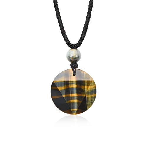 HASKARE Mens Stone Pendant Tiger Eye Chakra Healing Pendant Necklace, Adjustable 27.5 inch (Tiger Eye Multiple Shape)