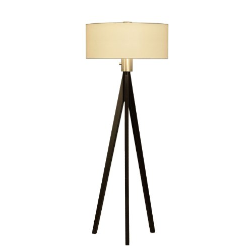 Nova Lighting 10858 Tripod Floor Lamp, Dark Wiped Wood & Brushed Nickel with White Linen Shade