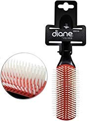 (Diane 9-Row Professional Styling Brush Detangler, Denman Cushion Nylon Bristles.)