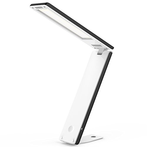 MoKo Portable LED Desk Lamp, Foldable Table Light with built-in 2800mAh Rechargeable Battery, USB Charing Port, Touch Control, Stepless Brightness, For Reading Working Travel - Black + White by MoKo