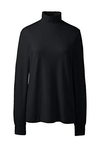 Lands' End Women's Relaxed Cotton Mock Turtleneck, M, - Shirt Neck Mock Black