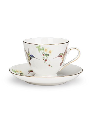 (Set of 4 Bone China Ivory Hummingbird Teacup Coffee Cups & Saucers (6.5 oz)