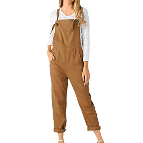 - Women's Casual Baggy Jumpsuits Overalls Loose Long Rompers Playsuit Tie Adjustable Straps Pockets Dungaree Pants Trousers