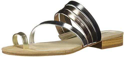 - Kenneth Cole New York Women's Valen Scroll Toe Ring Flat Sandal, Silver Multi 7 M US