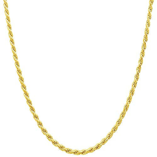 14K Yellow Solid Gold Italian Diamond Cut 2.0mm Rope Chain Necklace Strong Lobster Claw Clasp(14, 16, 18, 20, 22, 24 or 30 inch) With 1
