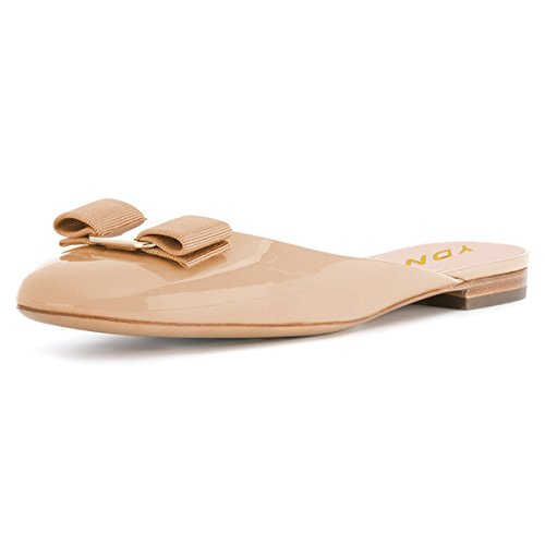 Slip Summer Nude Heel Slippers YDN Clog on Low Shoes Women Round Toe Slide Bowknot Flats w6xZBYSv