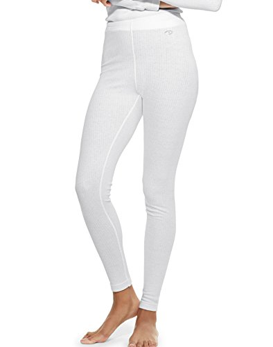 Duofold Women's Mid Weight Wicking Thermal Leggings, White, Large