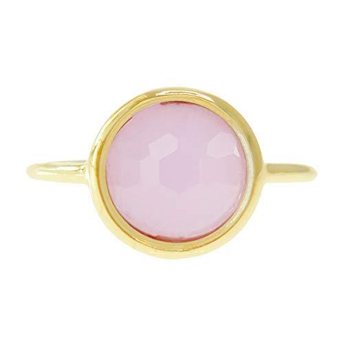 Rose Quartz 18k Gold Clad Wholesale Gemstone Round Ring (Size 6)