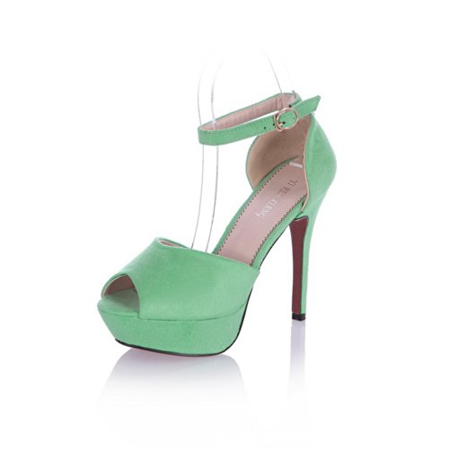 VogueZone009 Womens Open Peep Toe High Heel Platform Stiletto Suede Frosted Solid Sandals with Buckle, Green, 3 UK