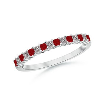Square Ruby and Princess Diamond Semi Eternity Classic Wedding Band in Platinum (1.5mm Ruby)