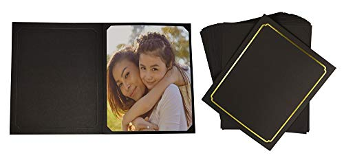 Golden State Art, Pack of 50, Black Cardboard Photo Folder for 8x10/6x8 Pictures - Great for Portraits, Wedding/Graduation/Family/Baby Photos ()