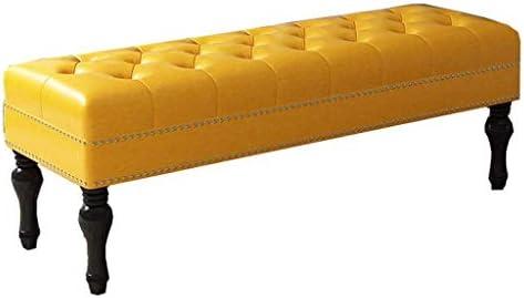 ホームリビング収納ベンチベッドベンチヨーロッパのファブリックソファベンチエントランスホールテスト靴ベンチ服店着用シューズ (Color : Yellow)