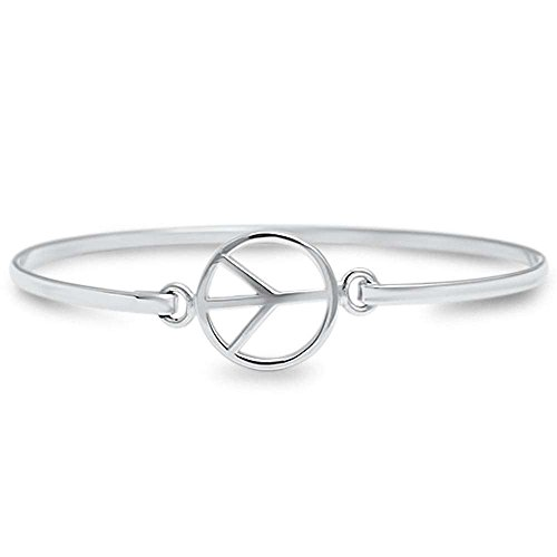 Peace Sign .925 Sterling Silver Bangle ()