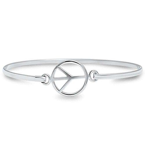 (Peace Sign .925 Sterling Silver Bangle Bracelet)