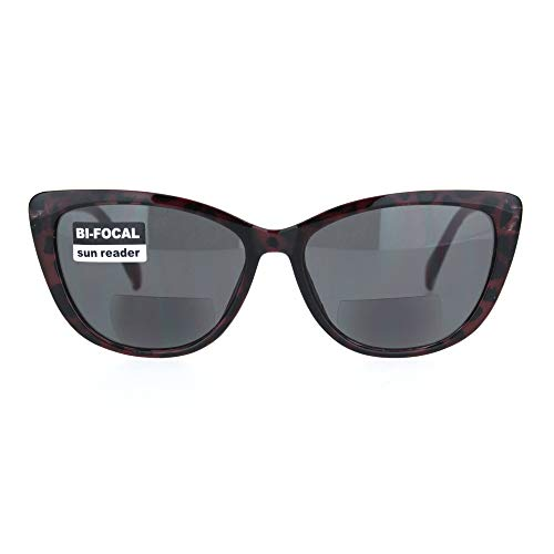 Womens Bi-focal Gothic Cat Eye Reader Lens Reading Sunglasses Burgundy Tort +2.0