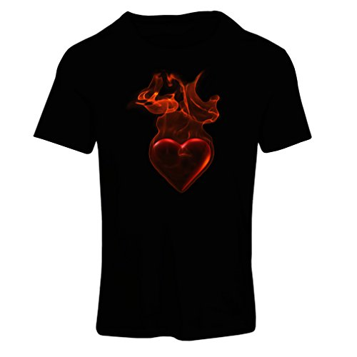 lepni.me T Shirts For Women Valentine Gifts, Birthday, Novelty, Romantic Gift Heart In Flames - I Love You (Medium Black Multi Color) (Get Well Gift Baskets Post Surgery)