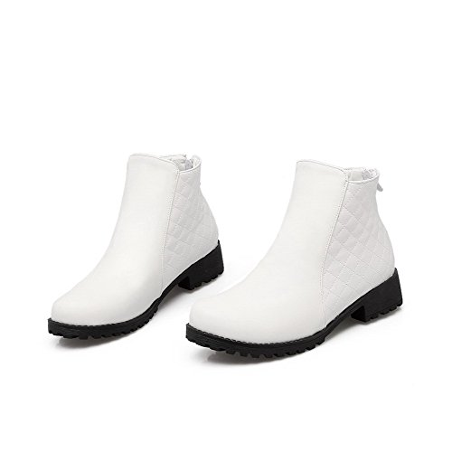 AllhqFashion Womens Round Closed Toe Low-Top Low Heels Solid PU Boots White jn7JyKWq