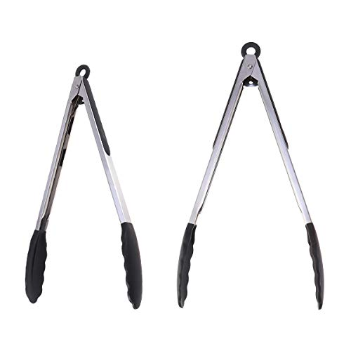 - Yardwe 2Pcs Stainless Steel Food Tongs with Silicone Tips BBQ Tong Kitchen Tools for Cooking Barbecue Salad Grilling Frying