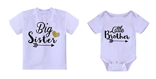 Rush Dance Boutique Newborn Lil Little Brother Or Big Sister Matching Outfit Set (Newborn Little Brother & Big Sister 5T, Little Brother White & Big Sister White)
