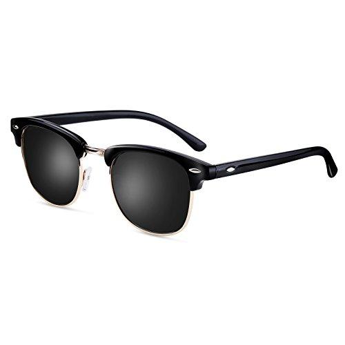 FEIDU Retro Polarized Clubmaster Sunglasses for Men Half Metal Women - Black Plain Sunglasses