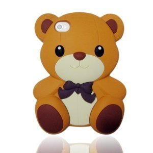 HJX Brown Iphone 5 Cute 3D Big Teddy Bear Hybrid Silicone case cover for Apple Iphone 5 & 5G + Gift 1pcs Insect Mosquito Repellent Wrist Bands bracelet