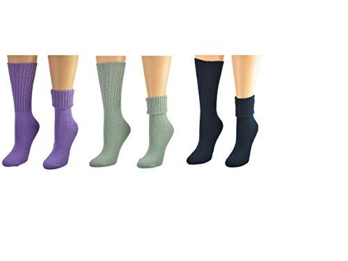 Sierra Socks Women's Solid Color Ribbed Crew Turn cuff Acrylic School Uniform 3 Pair Pack Socks 300616 (Socks Size: 9-11, Shoe Size: 4-10, Navy/Lt.Green/Purple)